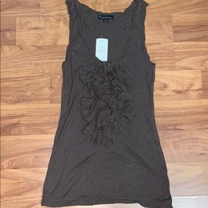 NWT Forever 21 Ribbed Ruffle Front Zip Tank